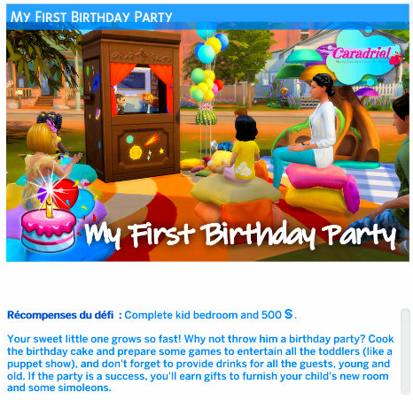 first birthday event sims 4